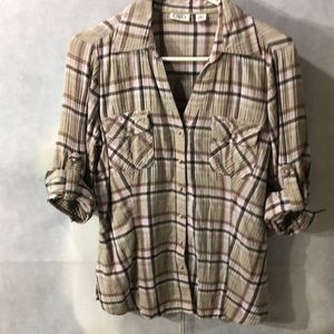 5 for $25-plaid casual shirt